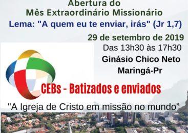CEBs Maringá convida:   7º Encontrão Arquidiocesano das CEBs. Dia 29 de setembro de 2019