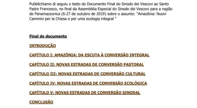 """Documento final do Sínodo da Amazônia """"Eis aqui o documento, vejam vocês"""". Papa Francisco"""